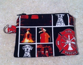 Firefighter Coin Purse, Fire Zipper Pouch with Key Chain Padded Coin Purse