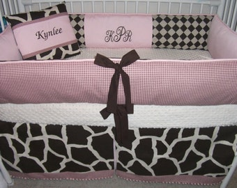 Pink and Brown Giraffe  Baby bedding Crib set DEPOSIT Down payment ONLY