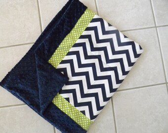Baby blanket Lime and navy chevron minky dot