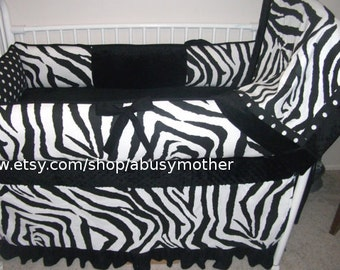 Black and White Zebra Girl Baby bedding Crib set DEPOSIT Down payment Only read details