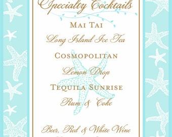 Personalized Wedding Signature Drink Sign  - Bar Sign -  customizable Starfish