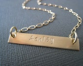 The Gold Bar Necklace - Hand Stamped Jewelry, Gold Jewelry, Name Necklace, Personalized, Handstamped, Mommy Necklace