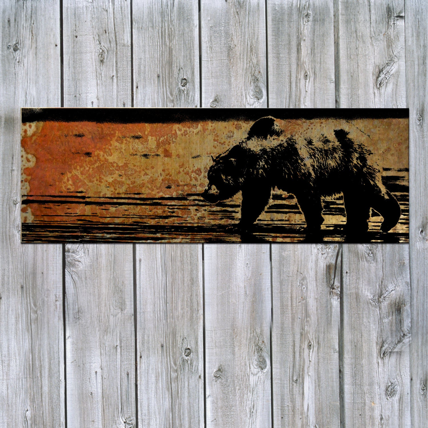 rustic wall art grizzly on rusted metal free shipping. Black Bedroom Furniture Sets. Home Design Ideas