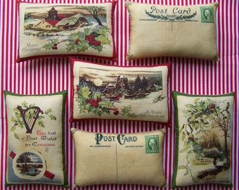 Set of 6 Grungy Primitive Christmas Postcard Bowl Fillers Ornies Tucks Folk Art Americana Decoration Pillow