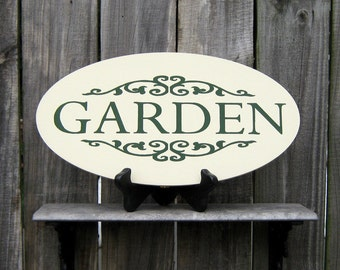 Garden Sign, Painted Wood, Cottage Chic, Garden Decor, Spring Sign, Garden Plaque, Antique White, Green, Flourishes