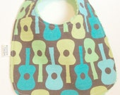 Groovy Guitars on Lime Chenille Baby Bib