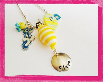 Personalized Easter Necklace  -  Hand Stamped EGG BUNNY RABBIT Pendant Charm Necklace for Children - #EA102