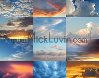 MickLuvin Set 1: 25 Real Sky Clouds JPGs to use as Photoshop Overlays - Create Stunning Portraits by Adding Sky