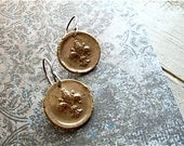 Reserved Listing : fleur de lis earrings, bronze and sterling silver