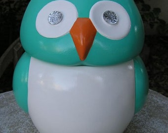 Jeweled Eye Turquoise Owl Cookie Jar