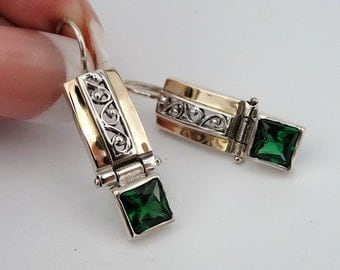 Great 9k Yellow Gold Sterling Silver Filigree Green Hanging Earrings (s e1662