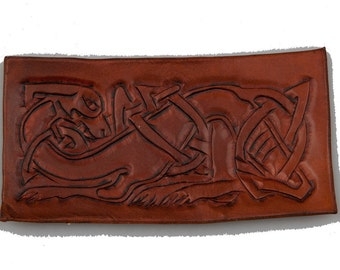 Celtic dog brown leather embossed and carved piece applique larp reenactment sca