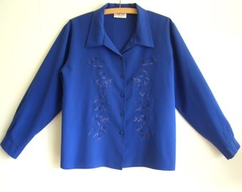 Electric Blue Vintage Shirt, Cobalt Blue Top, Loose Fit Size 10-12, Long Sleeves, Embroidered Leaf Detail, 80s Retro Blouse, Free Shipping