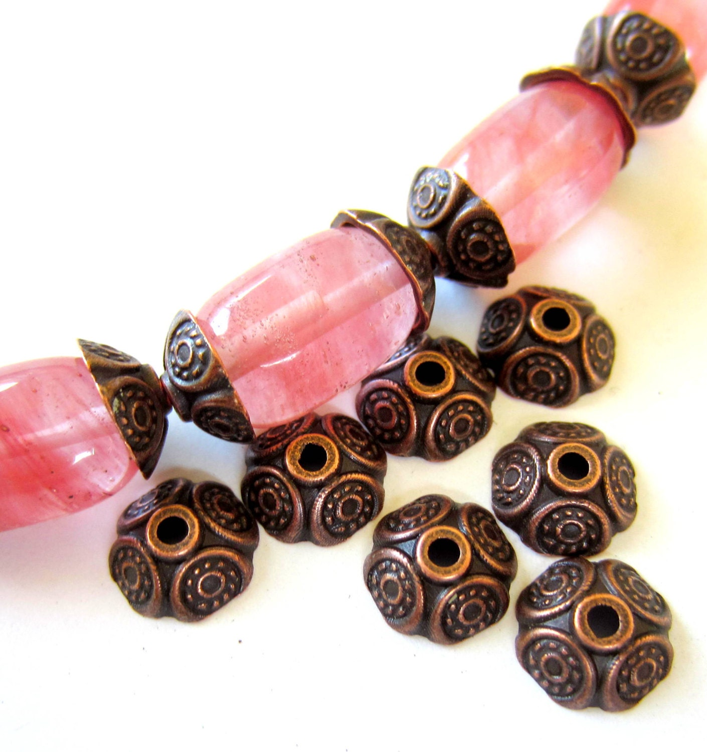 30 metal bead caps antique copper 9mm x 4mm diy bohemian