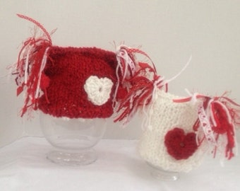 VALENTINE BABY HAT- Baby Hat in Red and White or Ivory with Heart and Matching Pom Poms, Photography Prop