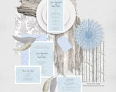 ghost gum wedding stationery set invitation suite printable files woodland winter forest invitation, reception or ceremony package