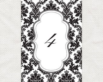 classic damask printable table numbers - diy instant download - reception decor table decorations black & white elegant table cards seating