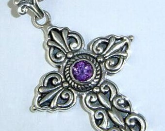 Large Thick Cross Pendant Amethyst Sterling Silver most ornate