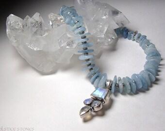 Aquamarine and Rainbow Moonstone Necklace // Throat & Crown Chakra // Crystal Healing Jewellery