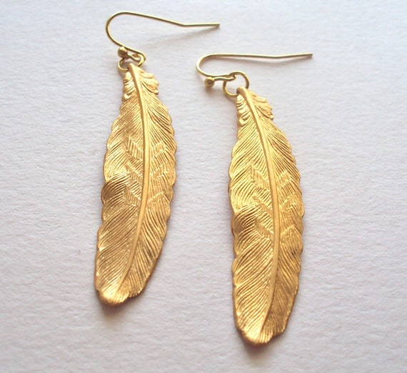 Gold Feather dangly earrings - long textured feathers - brass feathers