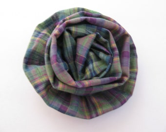 Purple Green Plaid Flower Brooch Fall Fashion Accessory
