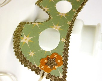 Yellow Gold and Light Green Retro Starburst Masquerade Ball Mask