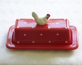 Butter Dish With Chicken / Hen / Rooster Knob - 2 Piece -  Red and White Polka Dots - New, Pottery -  USA Made