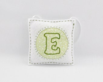 Embroidered Felt Ornament - Initial Letter E - Personalized - Home Decor - Personalized - Monogram -