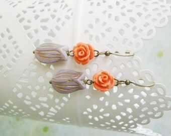 Rosy lavender tulips pink rose nickel free antiqued brass earrings, teenage daughters, young ladies, prom