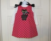 READY TO SHIP Size 3T, Hot Pink Polka Dot A-line Jumper with Sparkly Black Cat Applique, Black bows on Shoulder