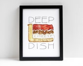 Chicago Deep Dish Pizza watercolor print