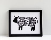 Cow butchery diagram - papercut style print