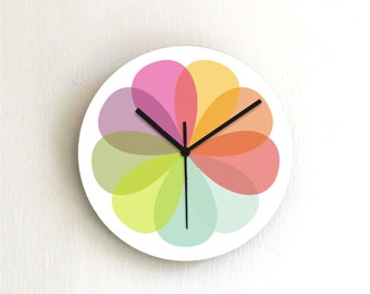 Colorful rainbow Pastel modern unique kids bedroom kitchen handmade printed decorative patterned wall clock