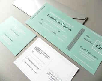 Beach Boarding Pass Invitation Suite for Destination Wedding, RSVP Postcard, Travel Insert Card plus Envelope