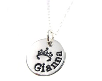 Princess. Hand Stamped Jewelry - Personalized Necklace for Girls - ByHannahDesign