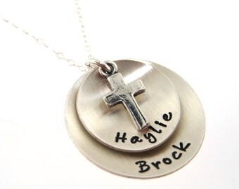 Two Sterling Silver Discs with Sterling Silver Cross Charm - Personalized Hand Stamped Jewelry By HannahDesign