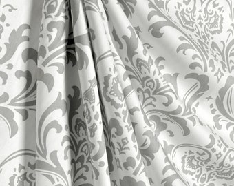 "Two 50"" wide custom made curtain panels drapes grey and white, traditions damask,"