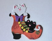 Handmade Kittens in Boot Embellishment for Halloween, Pet, Cat Lover, Bed Time Story, Scrapbook Layouts and Cards