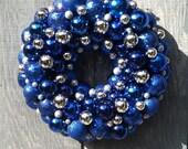 Sparkling Dark Blue and Silver Ornament Wreath  by Silk N Lights Designs