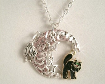 Black Cat Moon Necklace on the Moon Pumpkin and Stars Charm Fall Autumn Halloween Necklace