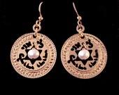 Judaica, Rose Gold earrings, ELUL, jewish star, unique jewish jewelry, judaica jewelry, judaica star, freshwater pearls, rose gold jewelry