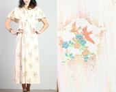 vintage BIRD PRINT empire FLUTTER sleeve festival sun maxi hippie floral peach dress 1970s 70s 1960s 60s small medium S M
