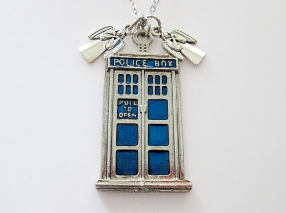 Tardis Necklace, Doctor Who Jewelry Fan Art, Tardis and Weeping Angels, Dont Blink Angel Charms, Big Police Call Box Necklace A008
