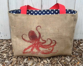 Eco-Friendly Red Octopus Market Tote Bag, Handmade from a Recycled Coffee Sack