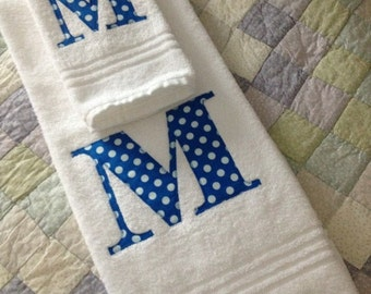Monogrammed Bath Towel With Appliqued Intial