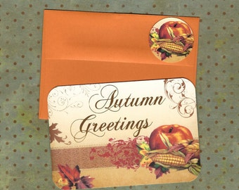 Autumn Cards & Stickers Harvest Greeting