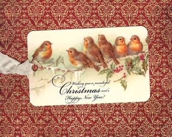 Christmas Tags, Birds, Holly, Gift Tags, Christmas Birds, Bird Gift Tags