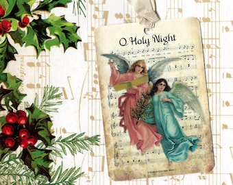 Christmas Gift Tags Angels on Music