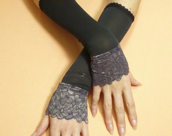 Elegant Retro Armwarmers Black Purple Beige Mix, Stretchy Lace, Evening Gloves for Special Occasion, Fingerless, 20's Style, Victorian