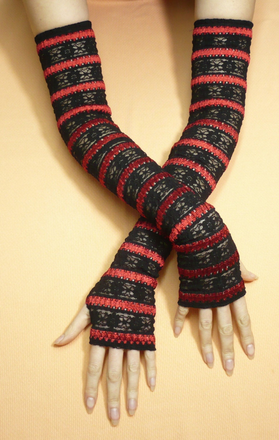 Ultra Long Fingerless Gloves Black Red Lace Armwarmers for